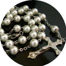 White Glass Pearl Beads Rose Rosary Cross Necklace crucifix catholic