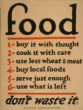 "FOOD - DON'T WASTE IT! - STEEL SIGN  8 x 6"" - INTERNAL/EXTERNAL USE & FIXING KIT"