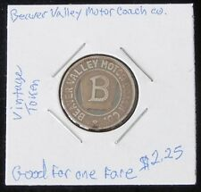"Very Cool Looking ~ Vintage Beaver Valley Motor Coach Co. (Pa) ""One Fare"" Token"