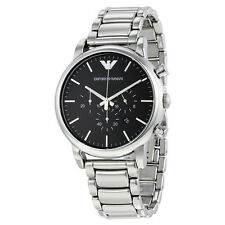 Emporio Armani Classic Black Dial Stainless Steel Chronograph Mens Watch AR1894