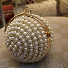 Women Bridal Crystal Pearl Ball Sphere Party Evening Clutch Bag Handbag Purse 3#