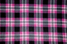 HOT & LIGHT PINK, GREY & BLACK PLAID FLEECE FABRIC MATERIAL 2 YARDS 60 X 72""