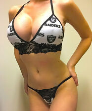 NEW OAKLAND RAIDERS LINED/BLACK LACE TRIM/LINGERIE/THONG SET A/B TOP XS/SML