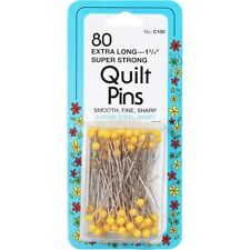 """Collins 80 Extra Long (1-3/4"""") Super Strong Quilt Pins Yellow Ball Head"""