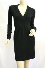 "$218 BCBG BLACK ""CEW6G135"" V-NECK LONG SLEEVE SILK BLEND SWEATER DRESS NWT S"