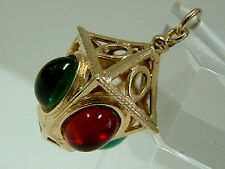 COLLECTORS SOLID 1970'S 9CT GOLD LANTERN WITH GEMS CHARM/PENDANT