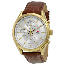 Tommy Hilfiger Silver Dial Brown Leather Mens Watch 1791127