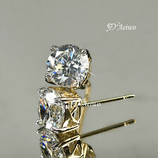 18K YELLOW WHITE GOLD GF STUD MADE WITH SWAROVSKI CRYSTAL EARRINGS 5MM