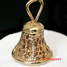 3D Filigree BELL with Clapper Solid 24k Gold Layered Charm Pendant + LIFE GUAR