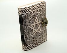 """Pentacle/Pentagram Handmade Leather Journal 7x5"""" Diary Wicca Book Of Shadows  VT"""