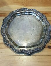 """F B Rogers 1883 SIlver on Copper 7734 Ornate Footed Lg serv Tray 16 3/4"""" Round"""