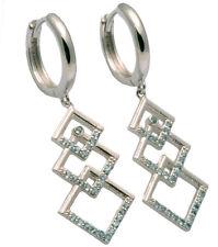 Sky Blue Topaz Gemstone Geometric Dangle Sterling Silver Earrings
