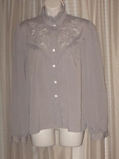 M 1980s VTG Womens Custom-made Gray Long Sleeve Embroidered Button-Down Shirt