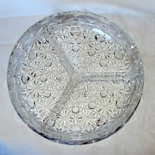 """Vintage 7 3/4"""" Star Cut Glass Divided Candy Relish Serving Dish Plate EUC France"""