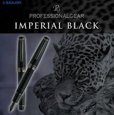 SAILOR PRO.GEAR IMPERIAL BLACK PLUME OR 21 CARATS GOLD 21K MATTE FOUNTAIN PEN