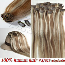 100% Real Human Hair Full Clip in Remy Hair Extensions 15''20'' 70g set