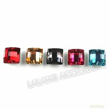 100pcs 24551 Mixed Square Charms Sew-on Faceted Flatback Resin Beads Free P&P