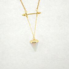 Gold Plated White/Rose Quartz Red Agate Succinct Pendant necklace XL1264