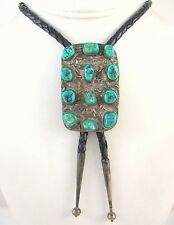 Old Pawn Navajo Handmade Solid Sterling Silver Turquoise Cluster Bolo Tie J LX