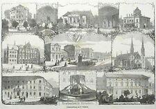 DRESDEN - Kreuzschule, Hempels Palais .. - Neubauten in Dresden - Holzstich 1867