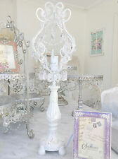 Shabby French Chic Beaded Candelabra Table Lamp Crystal Prisms Antique White