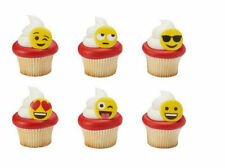 24 Emoji Emoticons Cupcake Cake Rings Birthday Party Favors Cake Topper