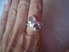 Chalcedony & Amethyst ring, 4.2 carats, size N/O, in 6.31 grams of 925 SterlingS