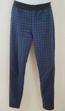 Pinko violet bleu marine jacquard taille élastique pantalon leggings pantalon UK10; IT42