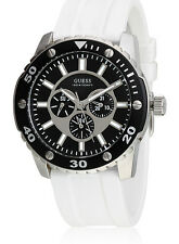 GUESS W10616G2 XL WEB HerrenUhr Analog Quarz Silikonband weiß