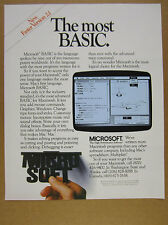 1986 Microsoft BASIC for Apple Mac Macintosh screenshot vintage print Ad