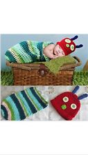 Newborn Baby Crochet Knit Costume Caterpillar Hat Photography Prop Outfits