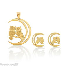 1 Set Stainless Steel Gold Plated Owl Pendant Stud Earrings Jewelry Set