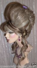 Drag Queen Wig Up Do Hi Lighted Dark Ash Blonde Curls French Twist Bangs