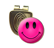 PINK SMILEY FUSION CAP CLIP & MAGNETIC GOLF BALL MARKER IN BRONZE