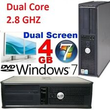 Rápido Dual Core 2.80 GHz de Dell Windows 7 computadora de torre de escritorio PC para juegos 4GB