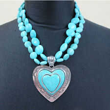 TURQUOISE HOWLITE ROUND DISC BEAD NECKLACE LG HEART PENDANT SET STAMPED SILVER