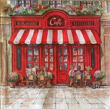 2 single paper napkins decoupage scrapbooking collection Cafe de Paris France