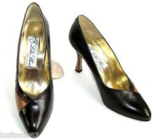 LOLA SHOES - ESCARPINS VINTAGE TALONS 9 CM CUIR TONS MARRON 39 - EXCELLENT ETAT