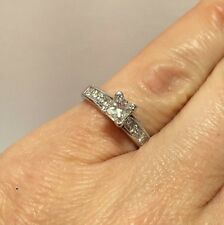 14k White Gold 1 Carat Diamond Princess Pave Solitaire Wedding Engagement Ring 5