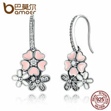Bamoer Jewelry S925 Sterling Silver Stud Earrings Cherry blossoms For Women XMAS
