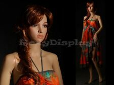 Female Unbreakable Plastic Display Mannequin Head Turns Dress Form G3 + FREE WIG