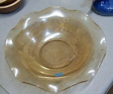 """9 3/4"""" Jeannette Glass Louisa Floragold Iridescent Large Bowl Ruffled"""