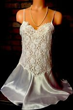 Bridal White Satin Sheer Mesh Lace Bling Sequin Pearl Babydoll Gown Chemise L