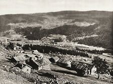 1924 Vintage SCANDINAVIA Photo Gravure Norway Halling Valley Log Cabin Landscape