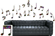 Colourful Patterned Music Notes Pack of 20 - Wall Art Stickers Treble Clef