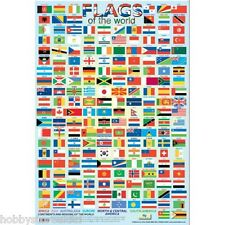 Flags Of The World Poster Chart Educational Geography Flags Wall Poster 196 New