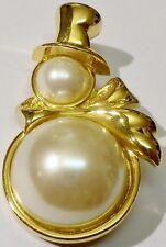 broche bijou couleur or bonhomme de neige cabochon perle blanche * 1731