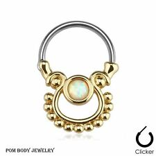 """16G 3/8"""" Single Opal Gold Plated Surgical Steel Nose Bull Ring Septum Clicker"""