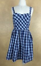 Casting Blue Plaid Min Dress Sundress Lined Padded Bodice Size M Juniors