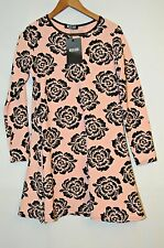 STRETCHY FLORAL BLACK AND POWDER PINK LADIES DRESS TUNIC SIZE S/M MISSLOOK PARTY